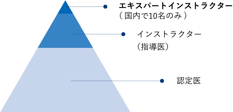 ICLエキスパートインストラクター(国内10名のみ)、インストラクター(指導医)、認定医のピラミッド図